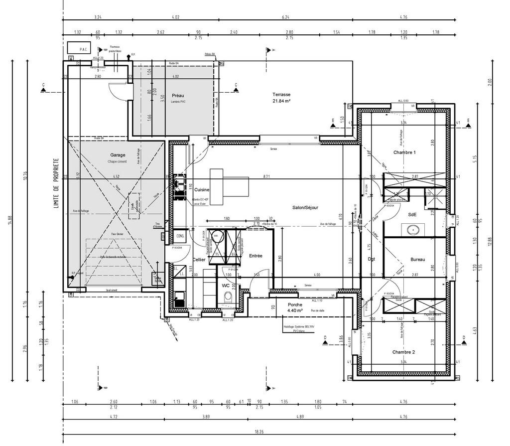 Plan maison bois kit plain pied chambres terrasse la vue - Plan maison plain pied 3 chambres 1 bureau ...