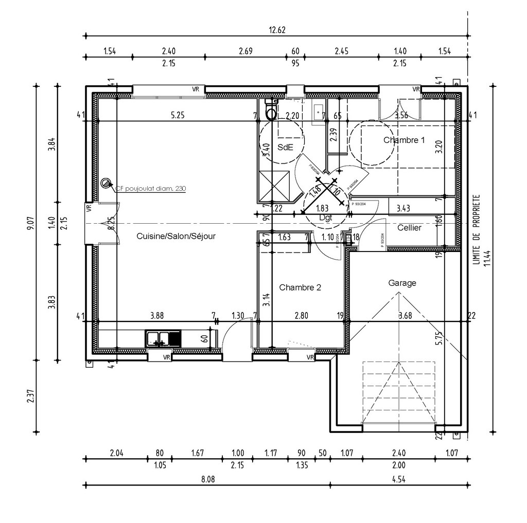 Plan maison pmr for Plan maison bungalow avec garage