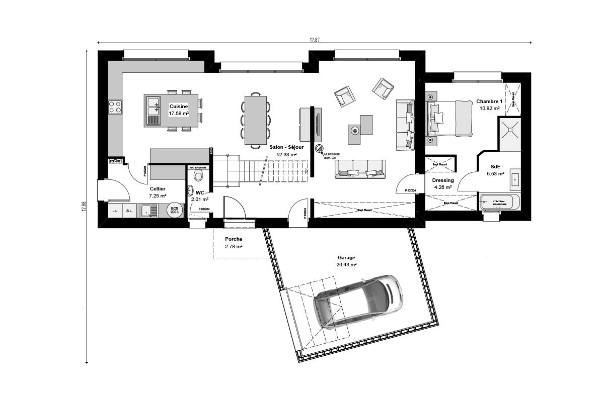 Plan de maison bepos Loire-Atlantique