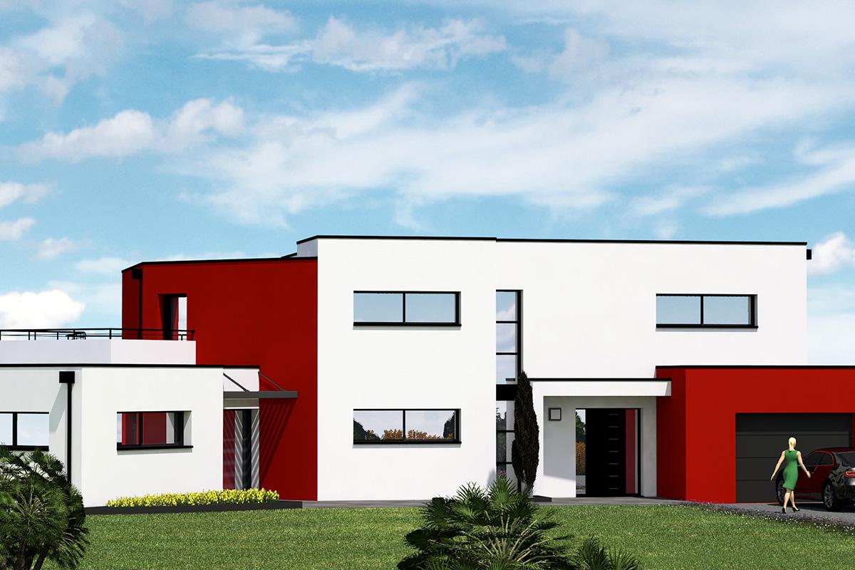 Projet de grande maison moderne à étage