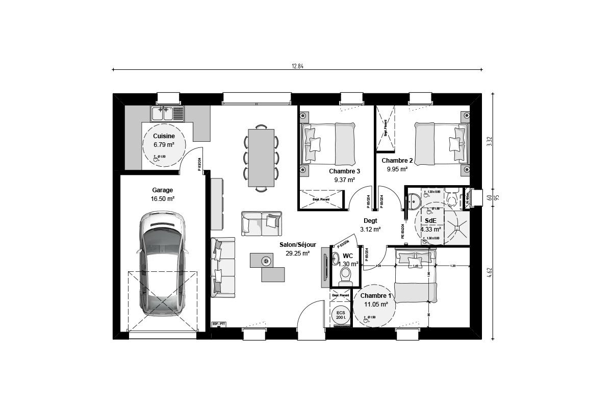 Plan de maison 3 chambres pour investissement locatif