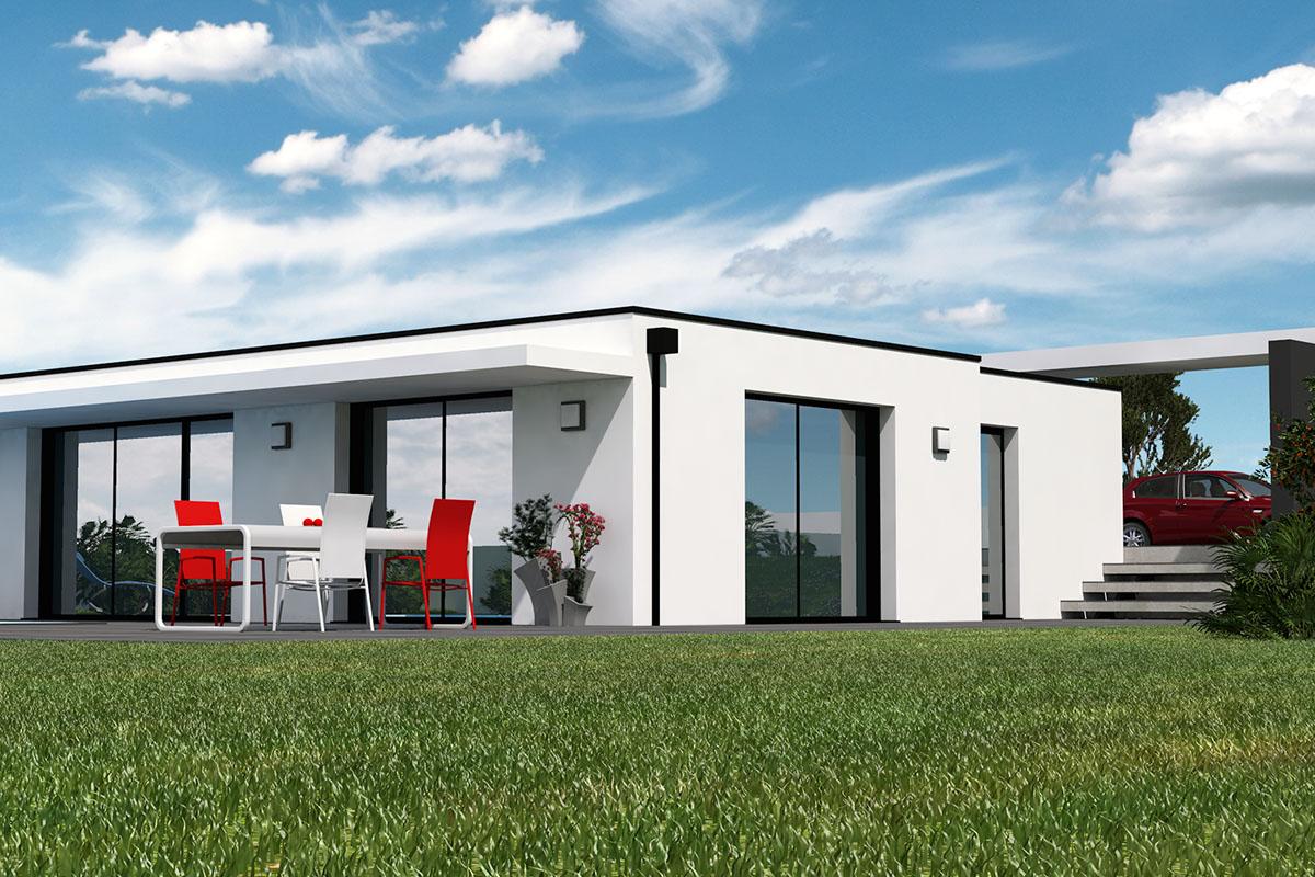 Projet de maison contemporaine à toit plat d'inspiration Le Corbusier
