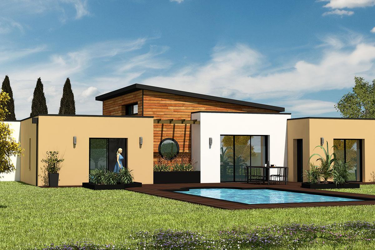 Maison moderne avec bardage bois et toit-terrasse