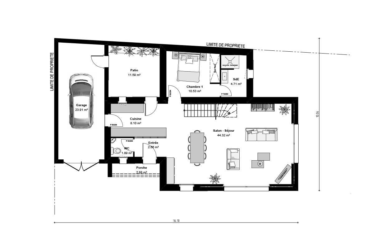 Plan du rez-de-chaussée d'une maison vendéenne à étage