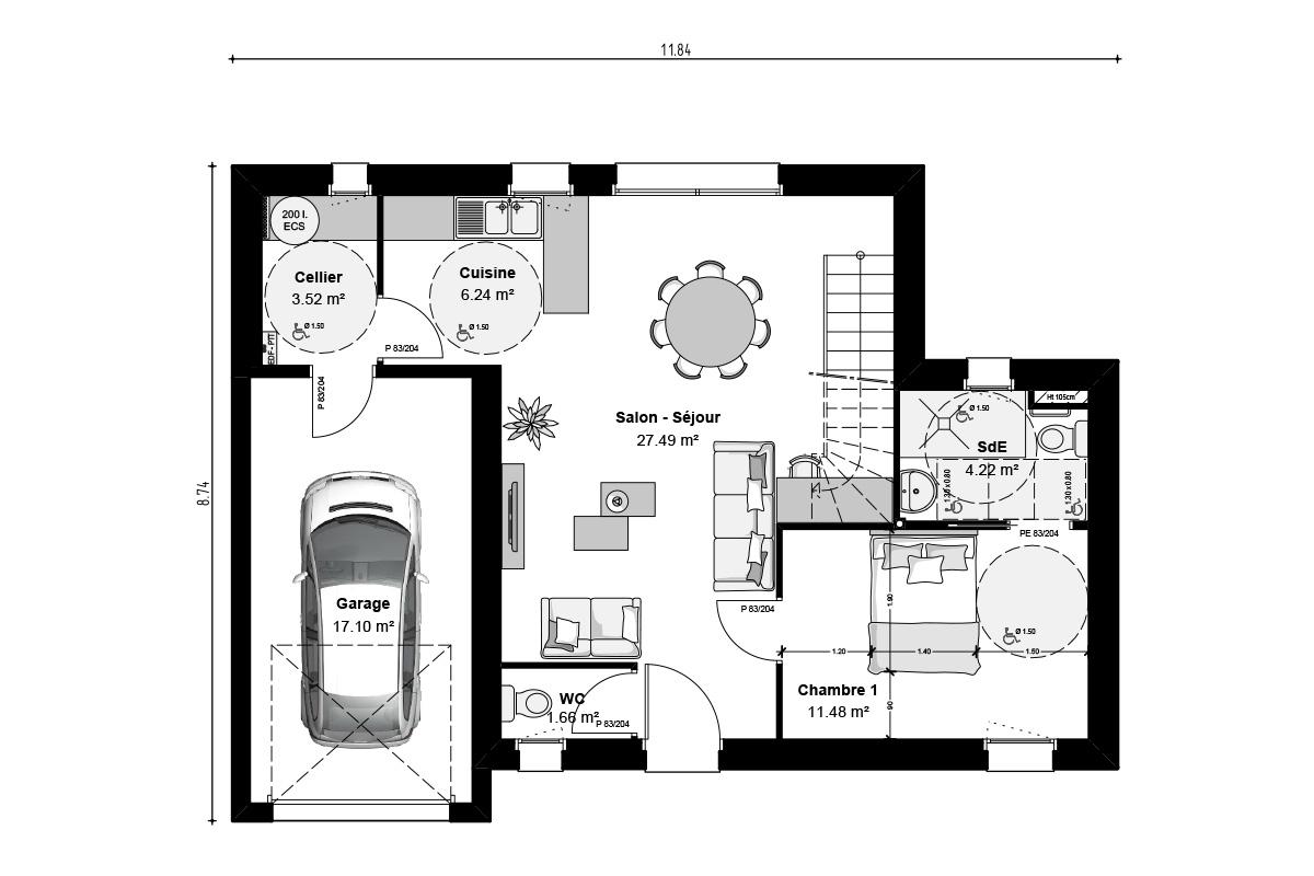 Plan de maison à étage pour premier achat