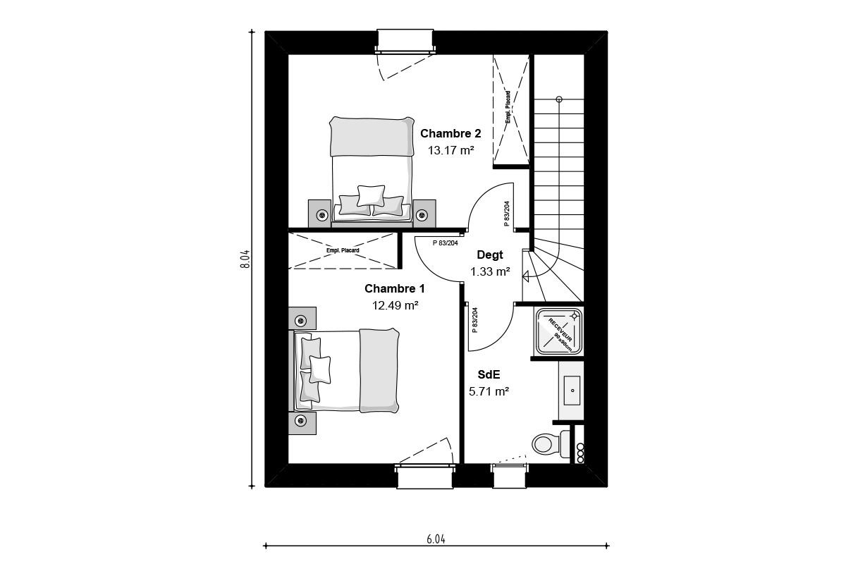 Plan de maison à étage pour jeune couple