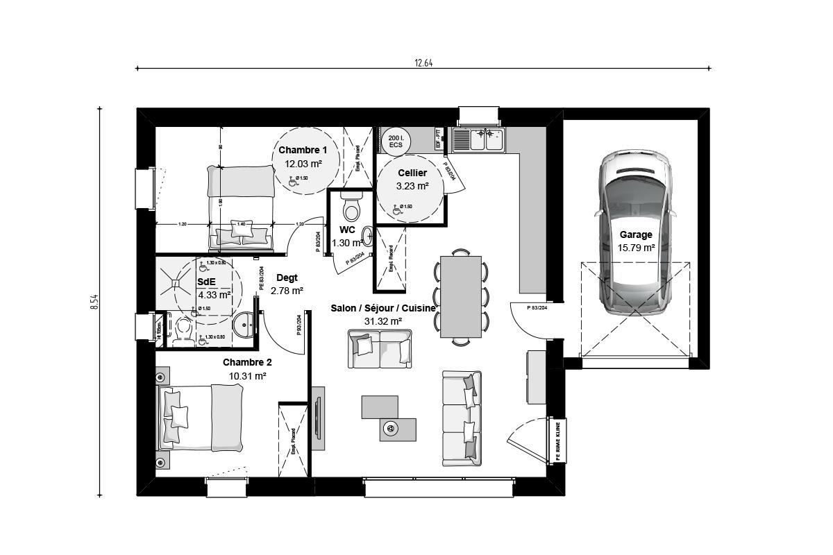Projet de maison compacte déclinable en 2 chambres