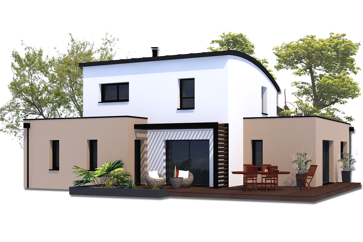 Projet de maison à étage contemportaine aux formes cubiques