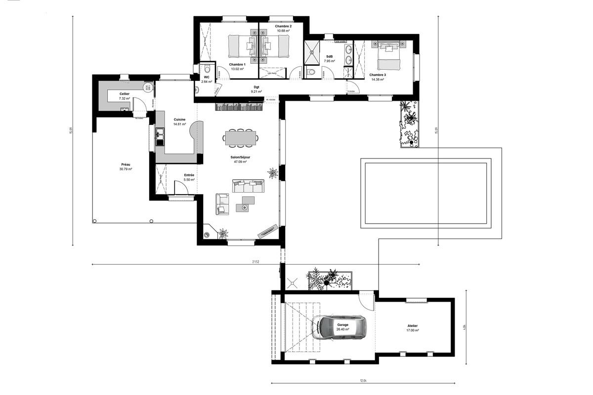 Plan de maison en U