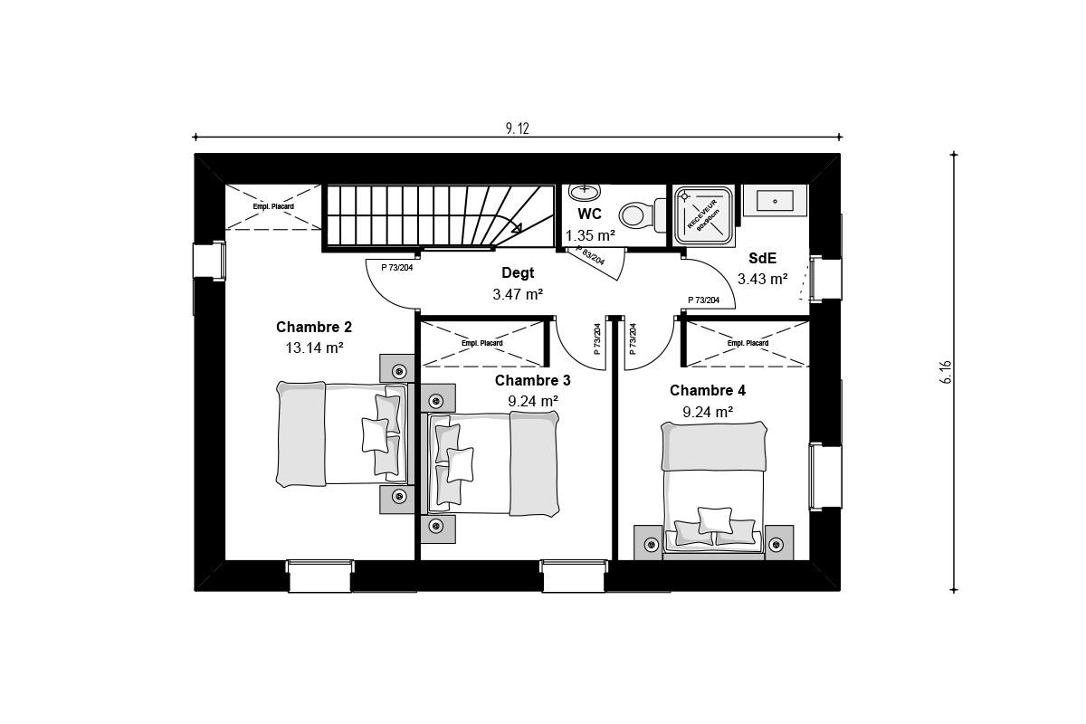 Plan de maison vendéenne à étage