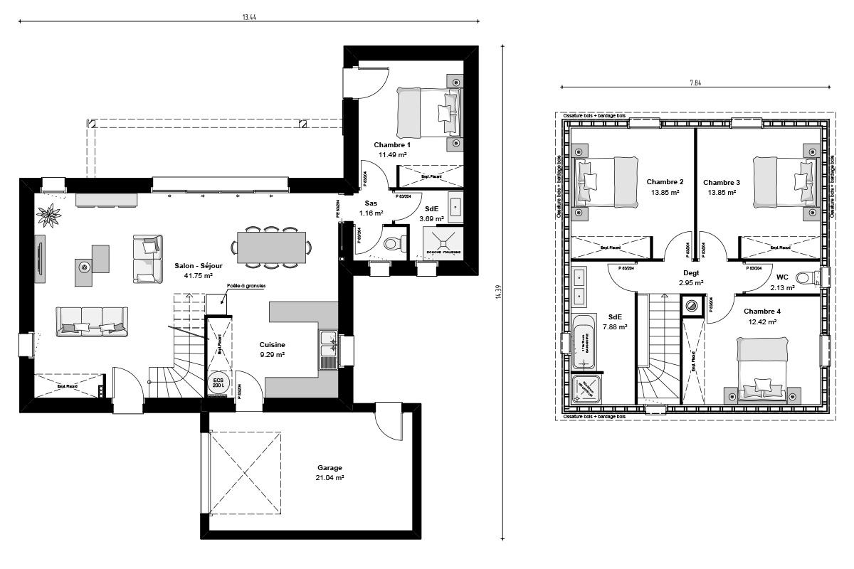 Plan maison moderne à ossature bois
