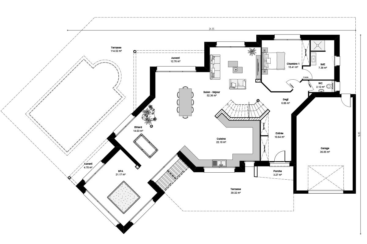 Plan de maison moderne à étage