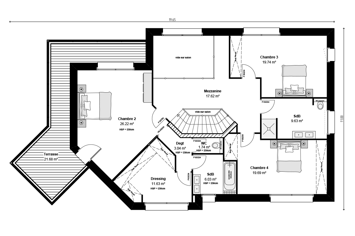 Plan de maison contemporaine à étage