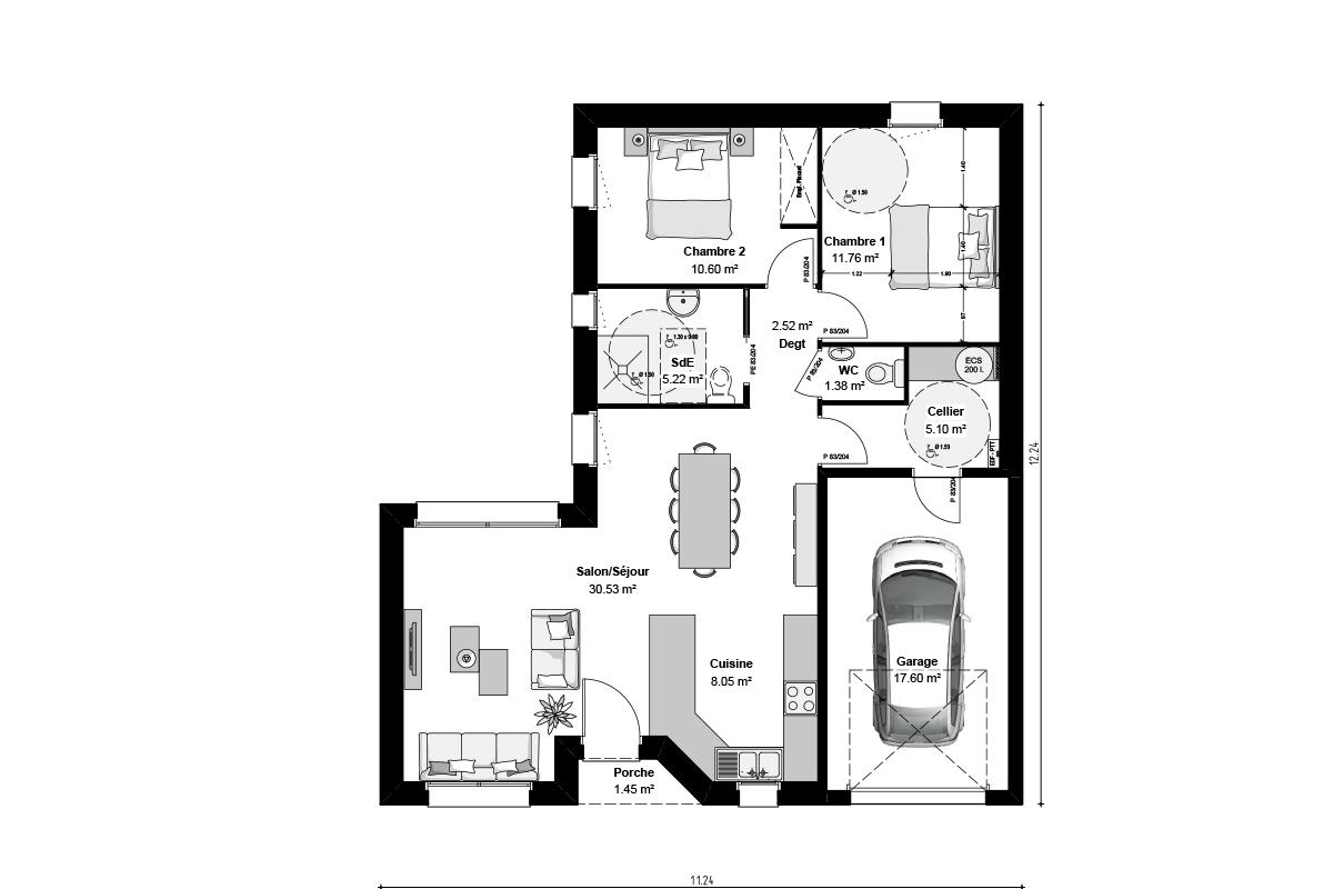 Plan de maison de plain-pied pour primo-accédants