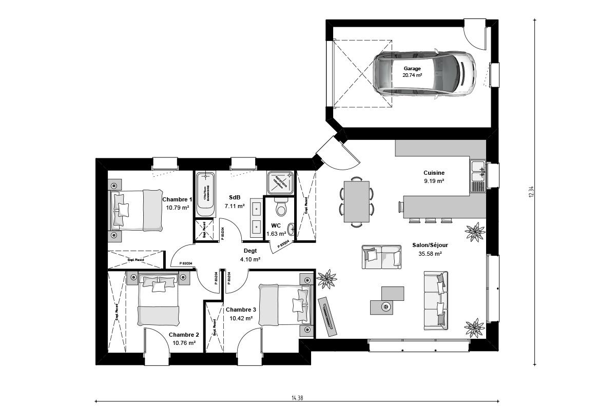 Plan de maison contemporaine avec toit plat