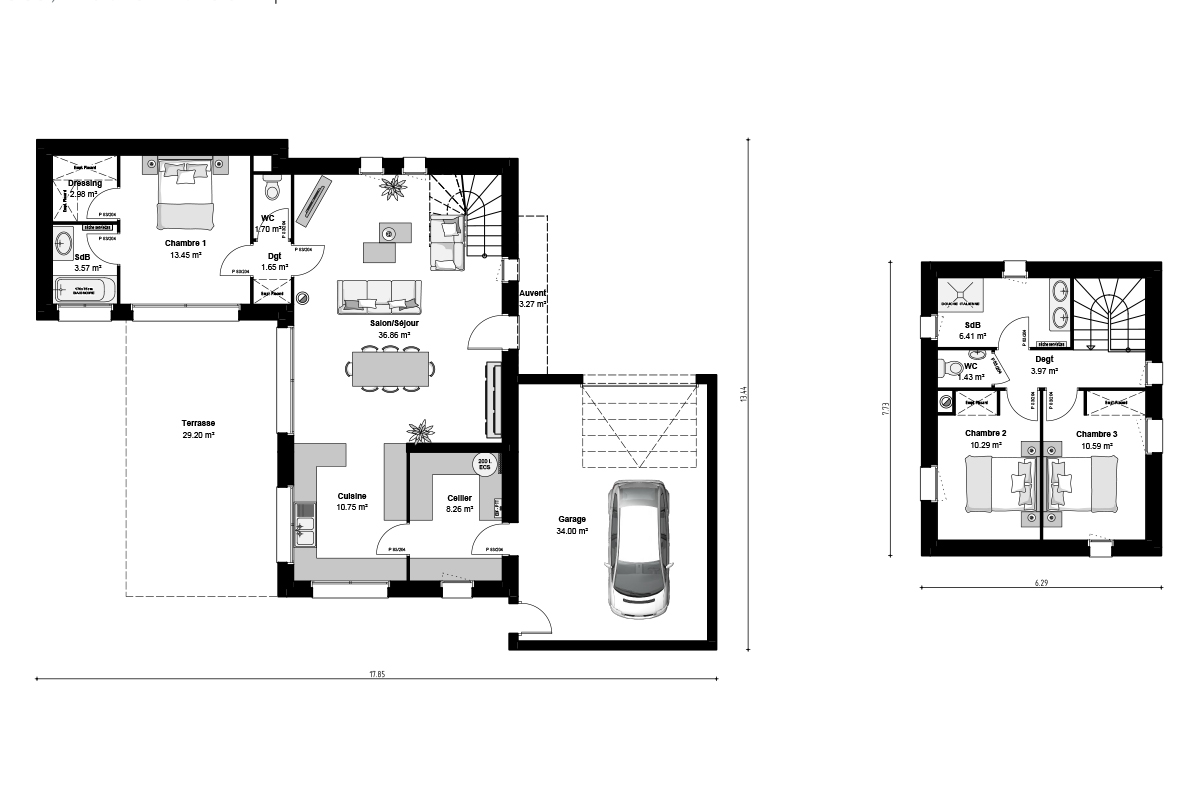 Plan maison moderne toit-terrasse