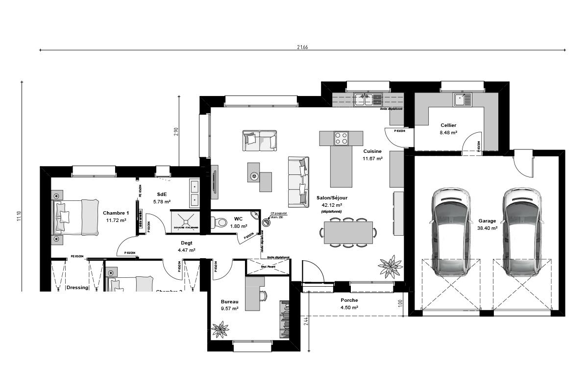 Plan de maison moderne avec plafond cathédral