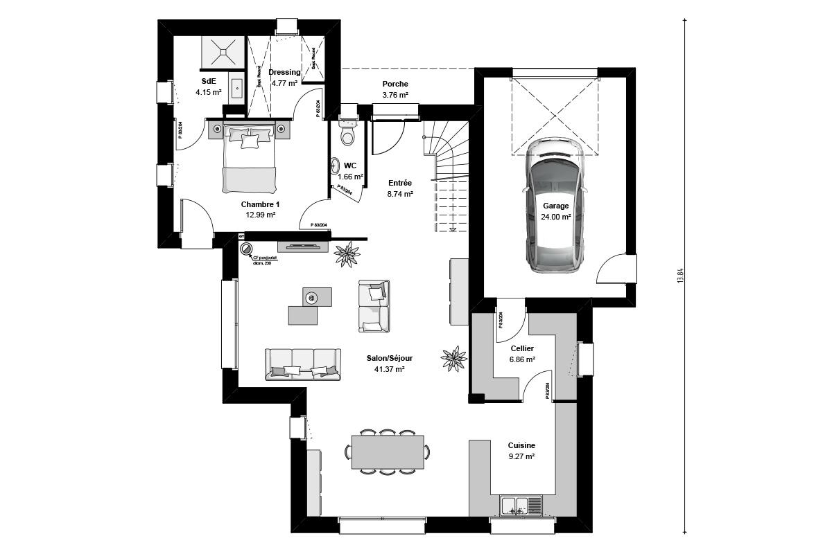 Plan de maison contemporaine aux formes cubiques