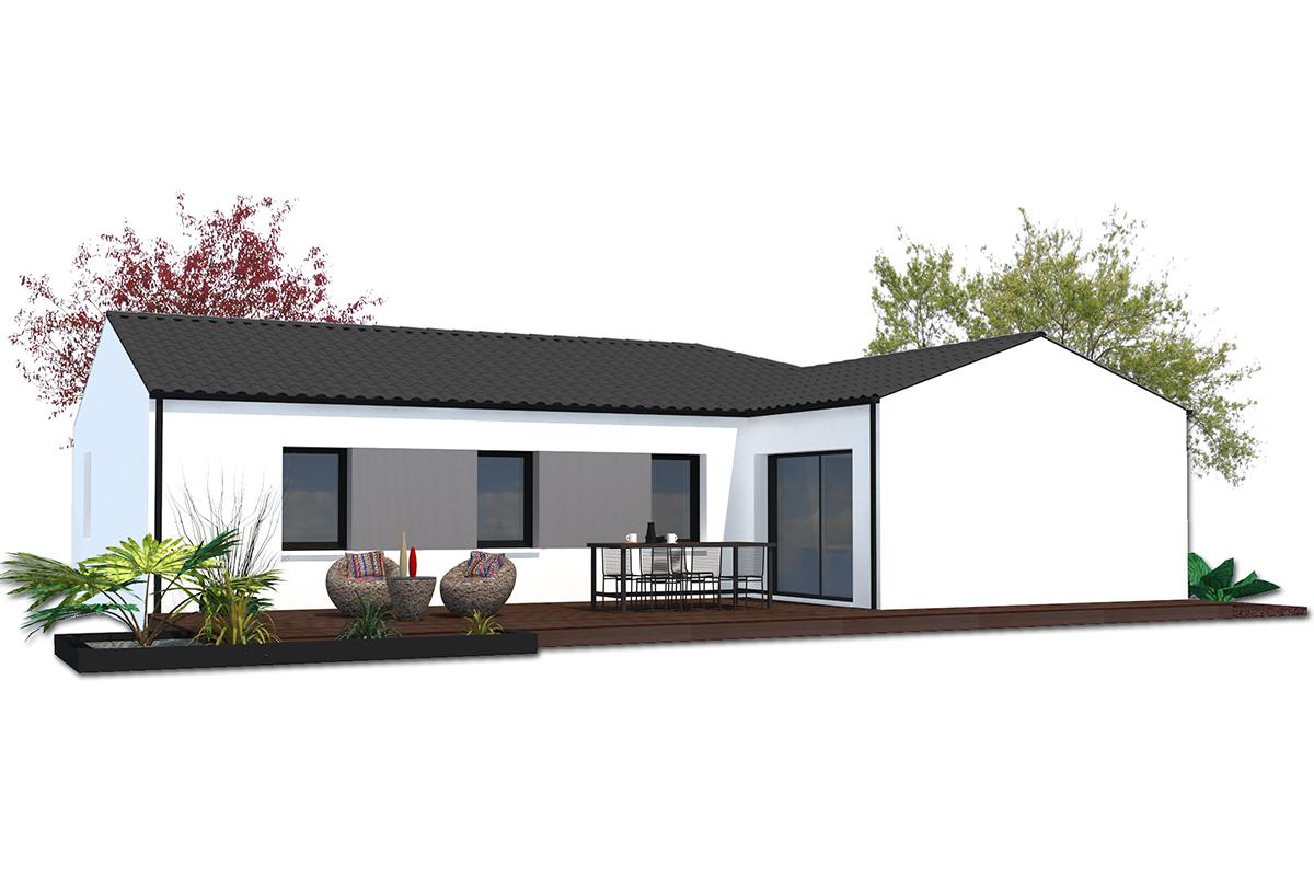 Plan de maison moderne de plain-pied pour primo-accédants