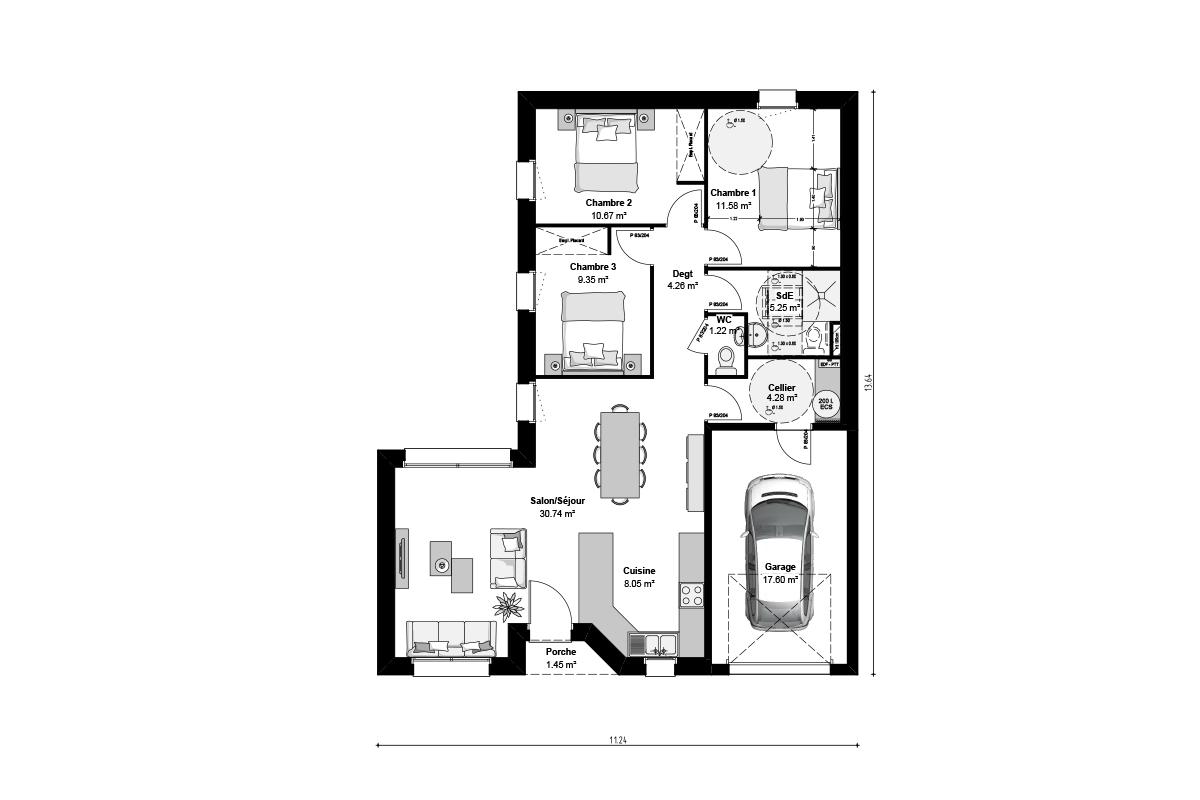 Plan de maison moderne de plain-pied spécial primo-accédants