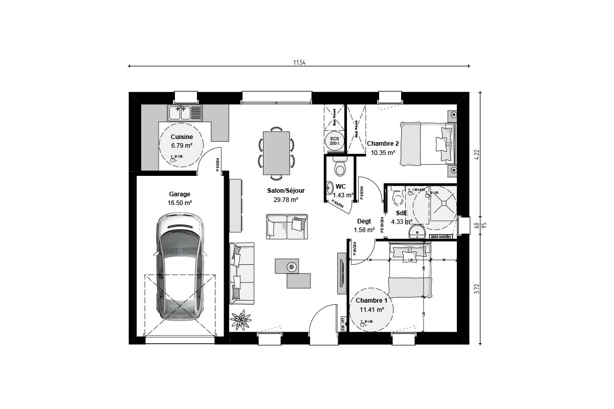 Plan de maison 2 chambres pour investissement locatif
