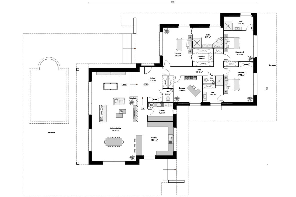 Plan de maison d'inspiration Le Corbusier