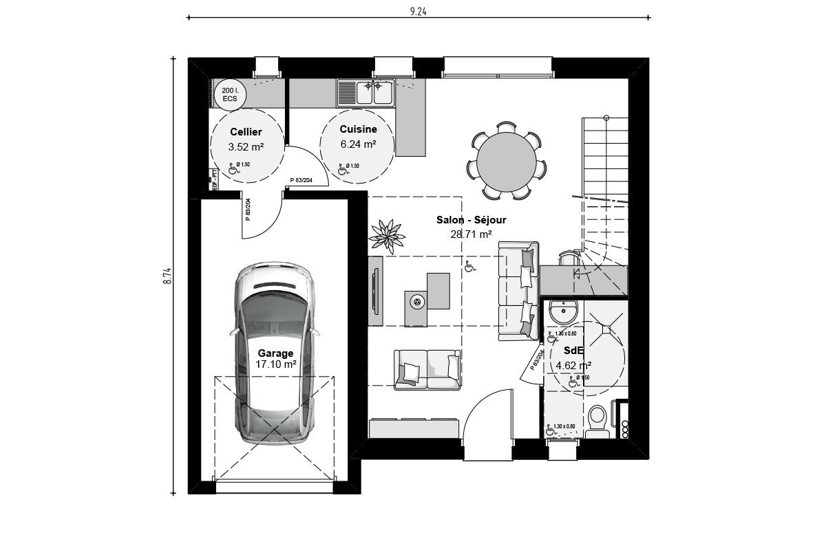 Plan de maison à étage pour famille