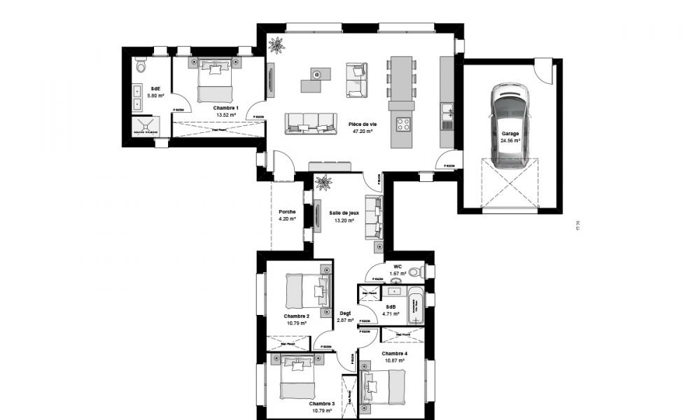 plan maison t perfect provenale with plan maison t good. Black Bedroom Furniture Sets. Home Design Ideas